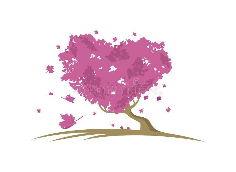 De vector van het de boomontwerp van de liefdeesdoorn royalty-vrije illustratie