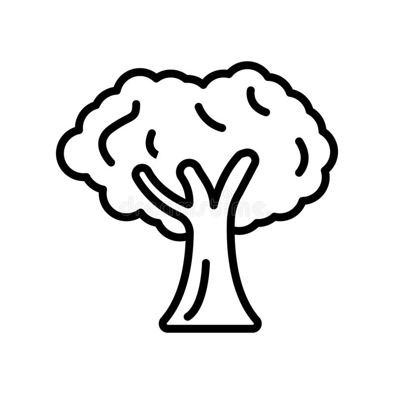 De vector van het boompictogram op witte achtergrond, Boomteken, lijn wordt geïsoleerd die vector illustratie