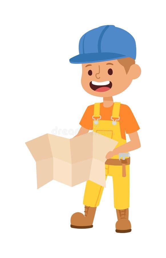 De vector van het bouwersjonge geitje royalty-vrije illustratie