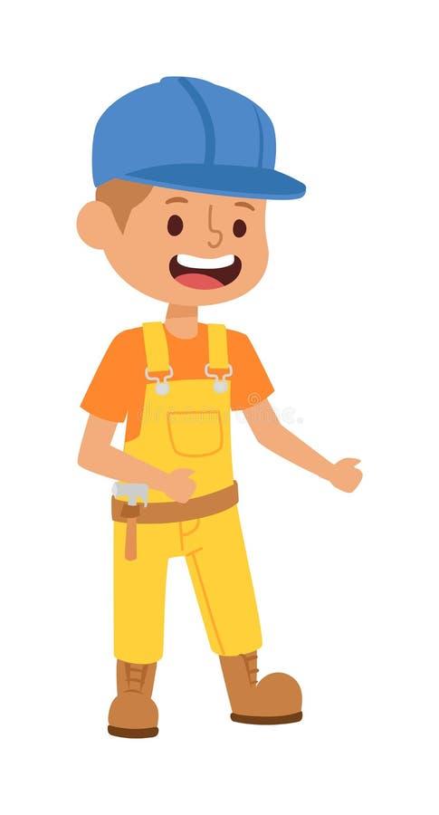 De vector van het bouwersjonge geitje stock illustratie