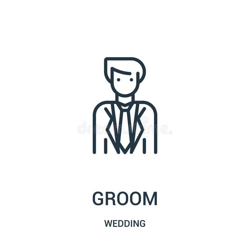 de vector van het bruidegompictogram van huwelijksinzameling De dunne van het het overzichtspictogram van de lijnbruidegom vector vector illustratie