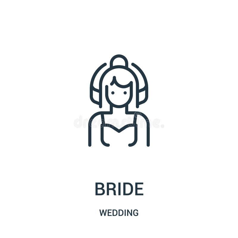 de vector van het bruidpictogram van huwelijksinzameling De dunne van het het overzichtspictogram van de lijnbruid vectorillustra vector illustratie