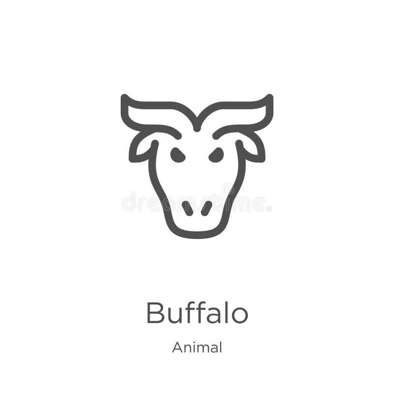 de vector van het buffelspictogram van dierlijke inzameling De dunne van het het overzichtspictogram van lijnbuffels vectorillust stock illustratie