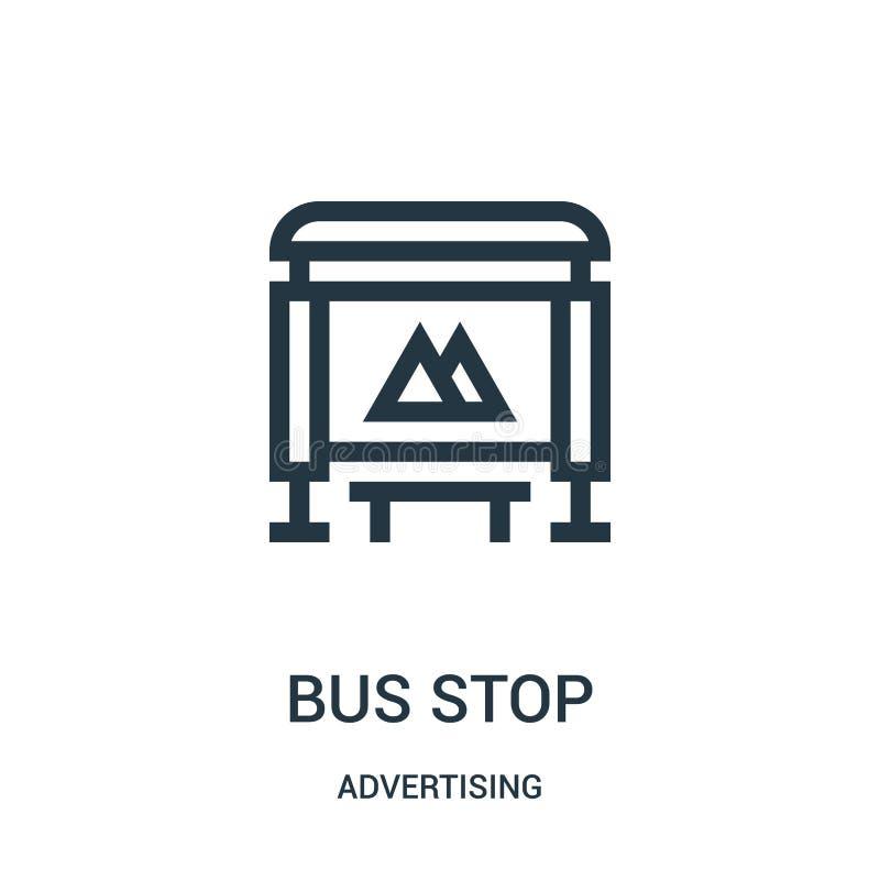 de vector van het bushaltepictogram van reclameinzameling De dunne van het het overzichtspictogram van de lijnbushalte vectorillu royalty-vrije illustratie