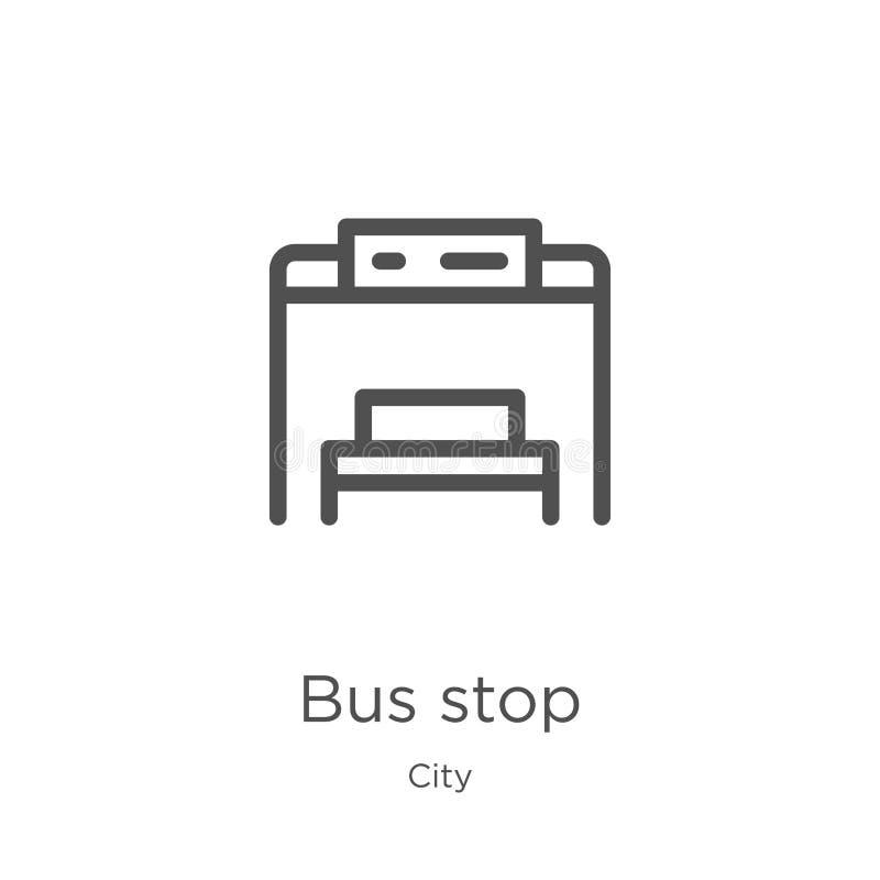de vector van het bushaltepictogram van stadsinzameling De dunne van het het overzichtspictogram van de lijnbushalte vectorillust royalty-vrije illustratie
