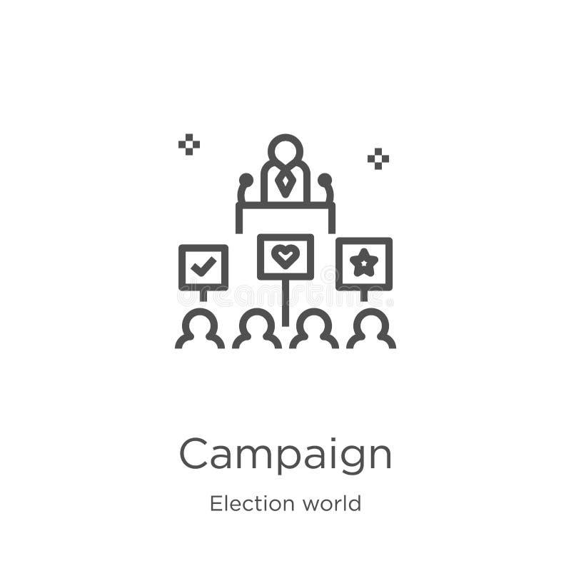 de vector van het campagnepictogram van de inzameling van de verkiezingswereld De dunne van het het overzichtspictogram van de li stock illustratie