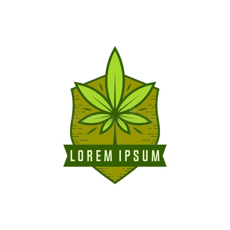 De vector van het cannabisembleem Marihuanaetiketten op Emblemen Medisch cannabis retro embleem Het embleem van het cannabisblad