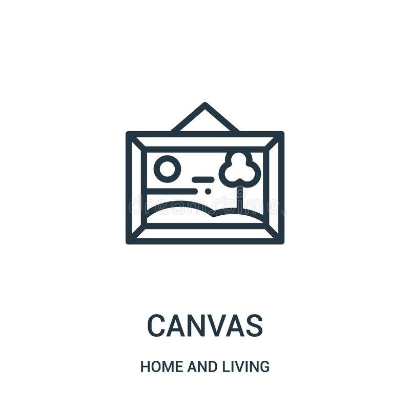 de vector van het canvaspictogram van huis en het leven inzameling De dunne van het het overzichtspictogram van het lijncanvas ve royalty-vrije illustratie