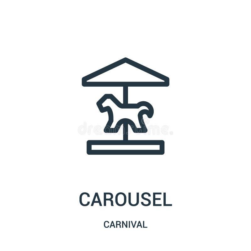 de vector van het carrouselpictogram van Carnaval-inzameling De dunne van het het overzichtspictogram van de lijncarrousel vector vector illustratie