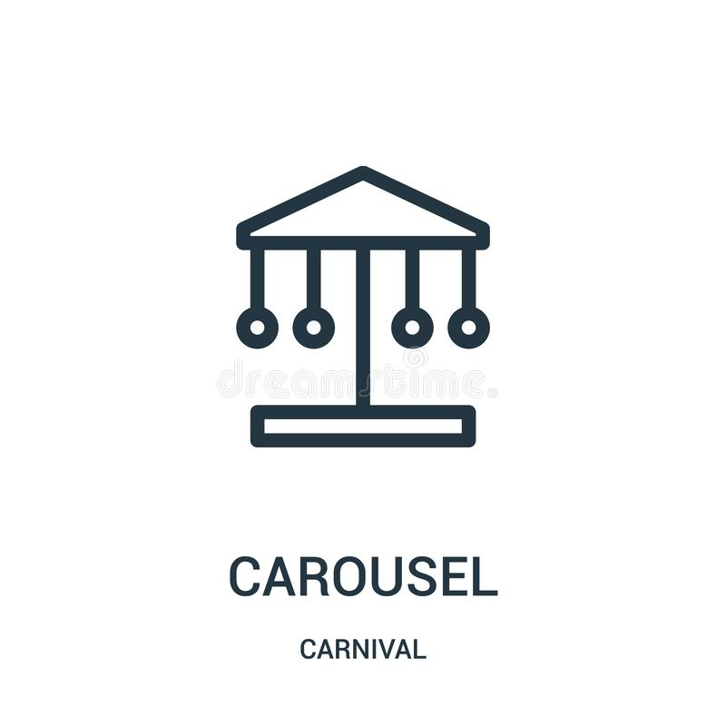 de vector van het carrouselpictogram van Carnaval-inzameling De dunne van het het overzichtspictogram van de lijncarrousel vector stock illustratie
