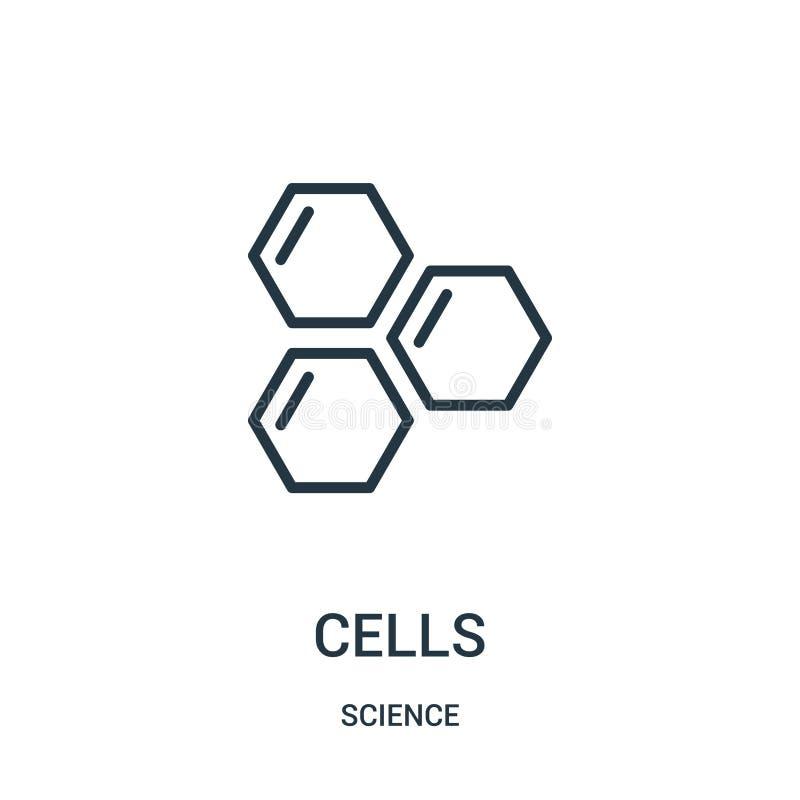 de vector van het cellenpictogram van wetenschapsinzameling De dunne van het het overzichtspictogram van lijncellen vectorillustr vector illustratie