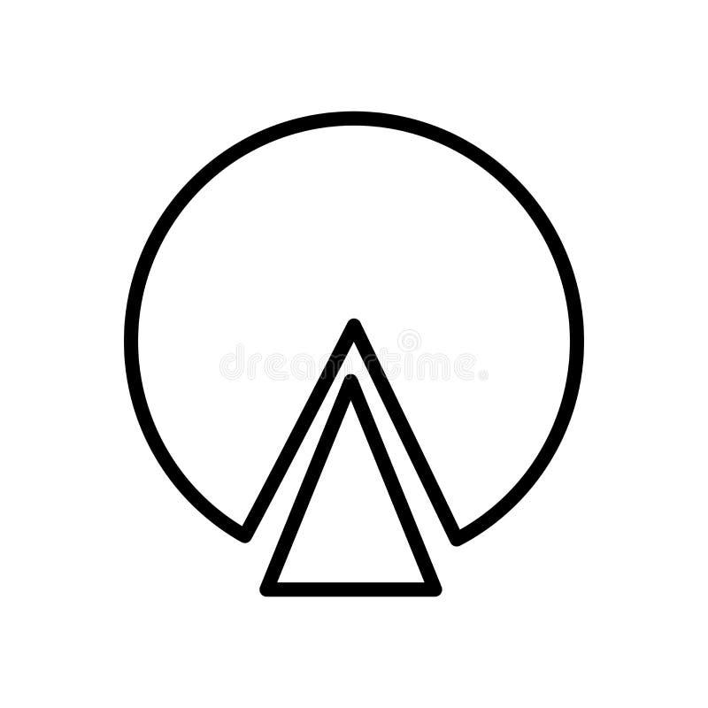 De vector van het cirkeldiagrampictogram op witte elementen als achtergrond, van het cirkeldiagramteken, van de lijn en van het o vector illustratie