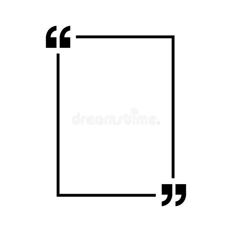 De vector van het citatenpictogram Quotemarksoverzicht, toespraaktekens, omgekeerde komma's of het spreken tekensinzameling Vecto stock illustratie