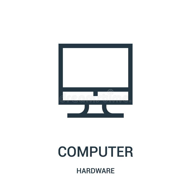 de vector van het computerpictogram van hardwareinzameling De dunne van het het overzichtspictogram van de lijncomputer vectorill royalty-vrije illustratie