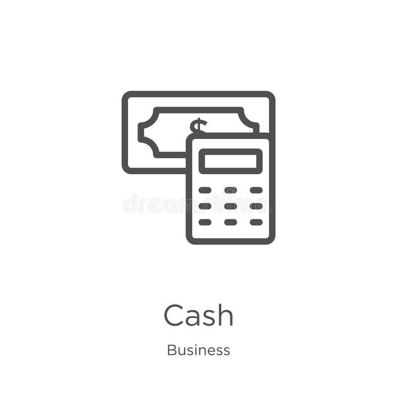 de vector van het contant geldpictogram van bedrijfsinzameling De dunne van het het overzichtspictogram van het lijncontante geld vector illustratie