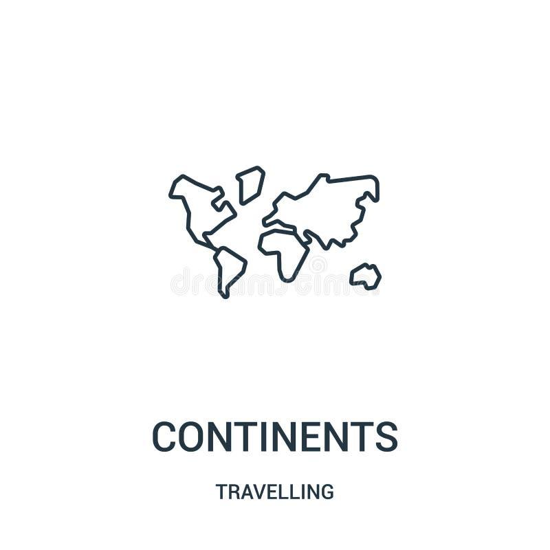 de vector van het continentenpictogram van reizende inzameling De dunne van het het overzichtspictogram van lijncontinenten vecto royalty-vrije illustratie