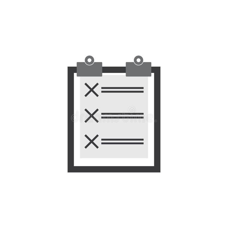 De Vector van het controlelijstpictogram de illustratie van controlelijstvectorafbeeldingen stock illustratie