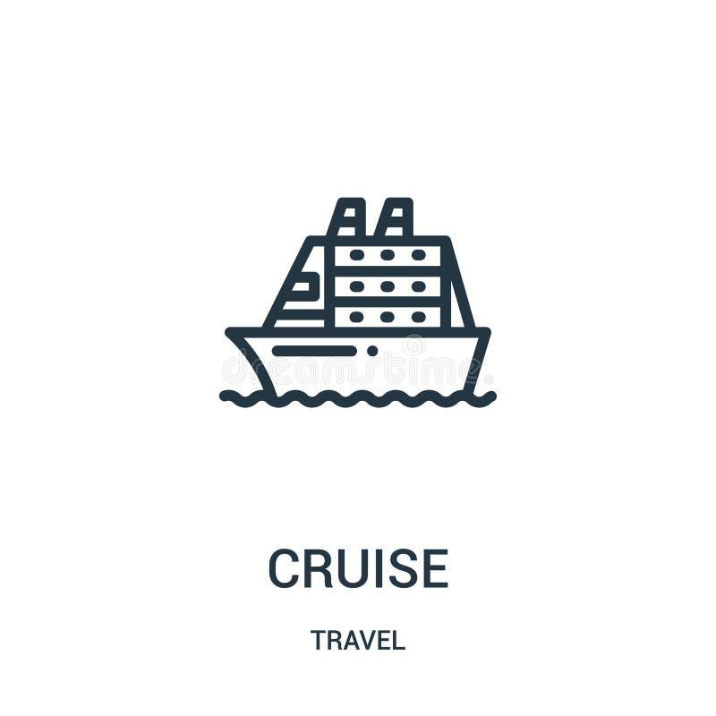 de vector van het cruisepictogram van reisinzameling De dunne van het het overzichtspictogram van de lijncruise vectorillustratie vector illustratie