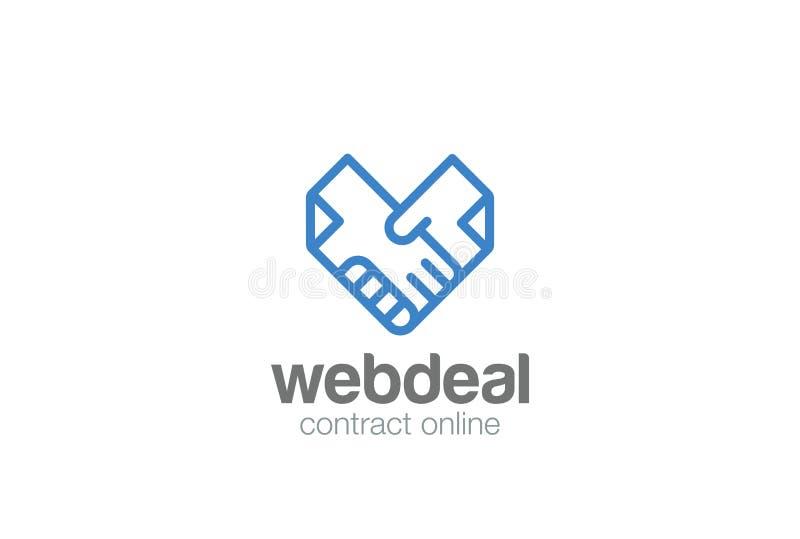 De vector van het de Handdrukembleem van overeenkomstendocumenten Doc.-Handen stock illustratie