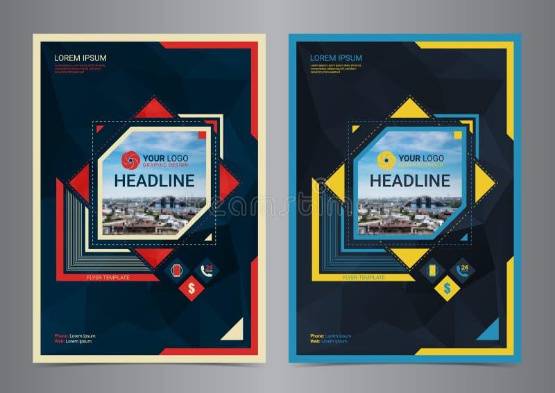 De vector van het de lay-outmalplaatje van het bedrijfsbrochureontwerp in A4 grootte De presentatie geometrische vormen van de pa stock illustratie