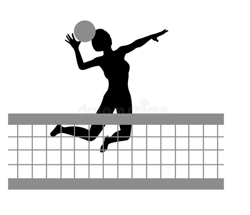 De vector van het de vrouwensilhouet van het volleyball vector illustratie