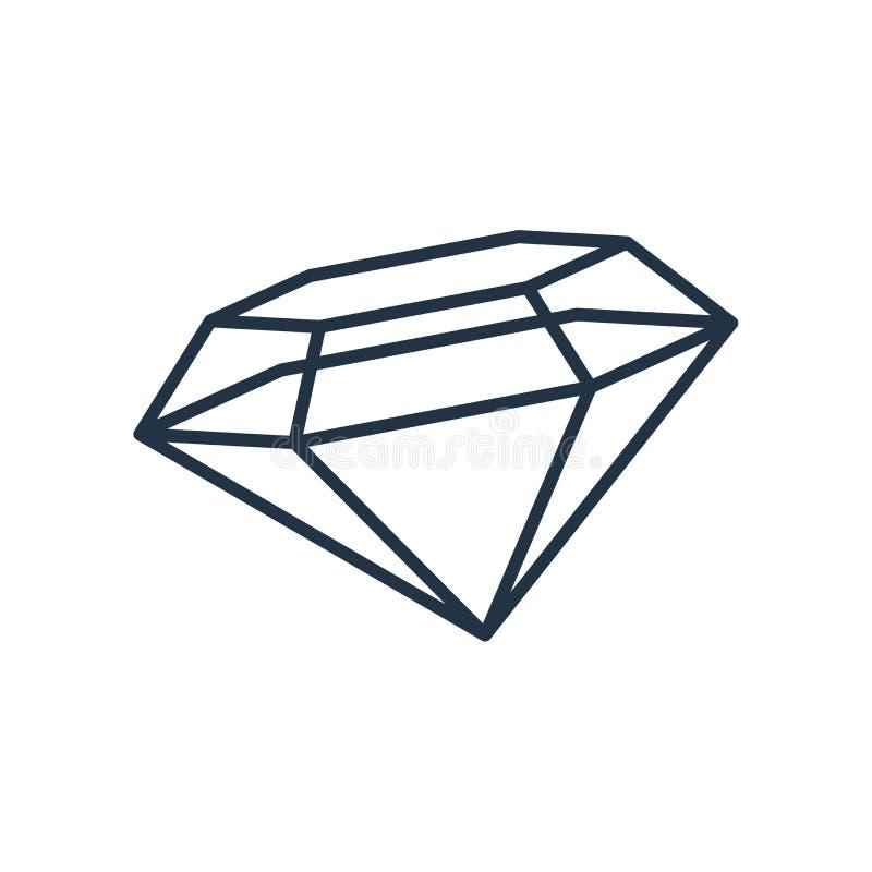 De vector van het diamantpictogram op witte achtergrond, Diamantteken wordt geïsoleerd dat stock illustratie
