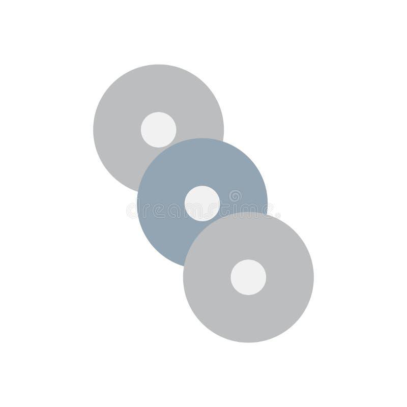De vector van het die compact discpictogram op witte achtergrond, compact discteken, kleurrijke materiaalsymbolen wordt geïsoleer stock illustratie
