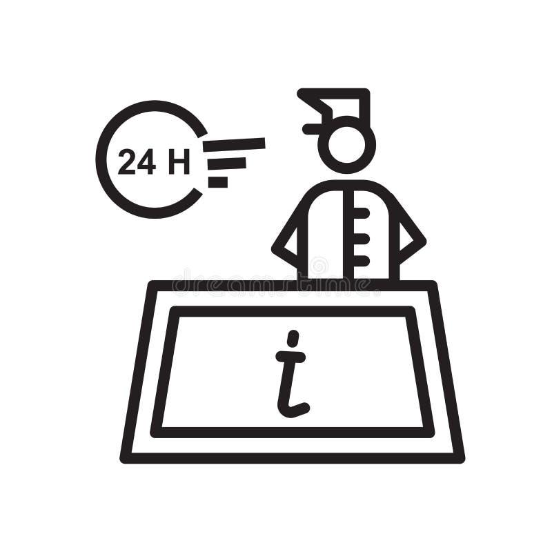 de vector van het 24 die urenpictogram op witte achtergrond, 24 urenteken, de lineaire symbool en elementen van het slagontwerp i vector illustratie