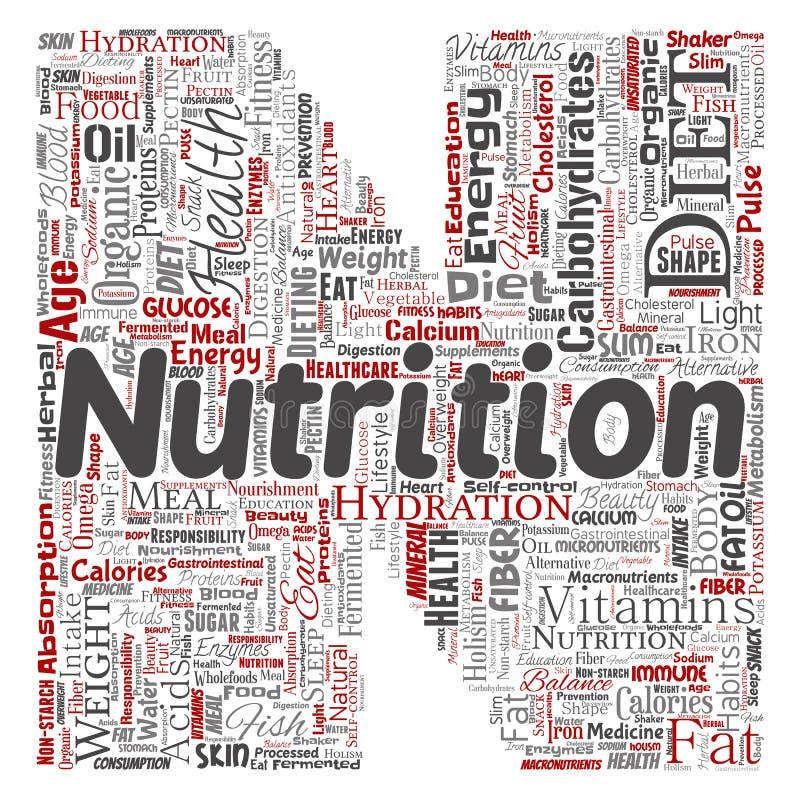 De vector van de het dieetbrief van de voedingsgezondheid doopvont N vector illustratie