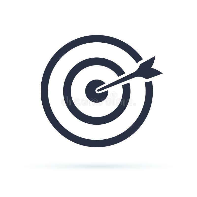 De Vector van het doelpictogram Doel met een van de het conceptenmarkt van het pijl vlak pictogram beeld van het het doel vectorb stock illustratie