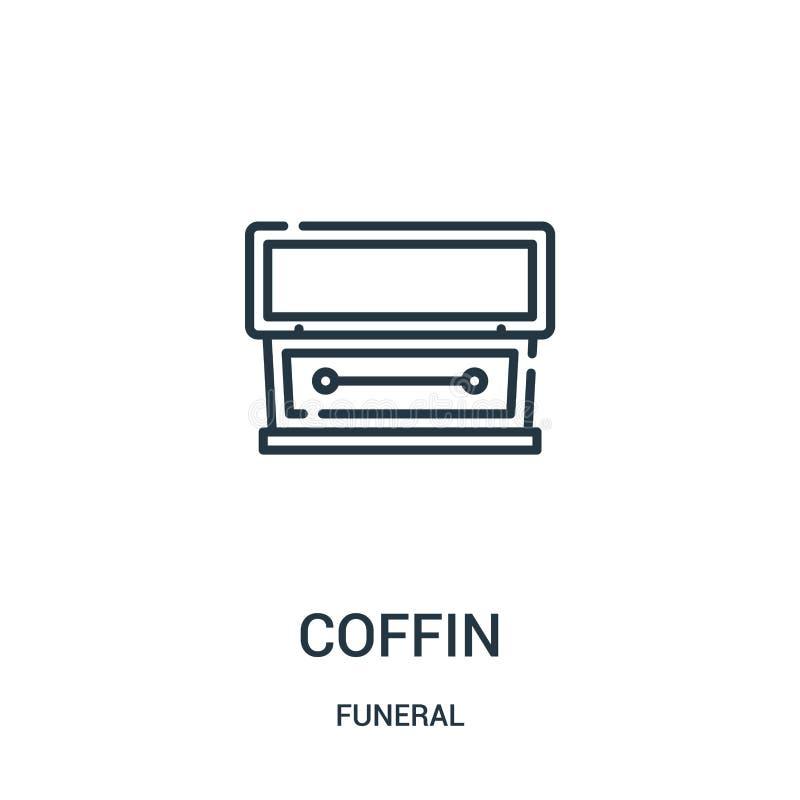 de vector van het doodskistpictogram van begrafenisinzameling De dunne van het het overzichtspictogram van de lijndoodskist vecto royalty-vrije illustratie