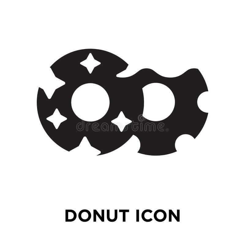 De vector van het doughnutpictogram op witte achtergrond, embleemconcept wordt geïsoleerd dat van royalty-vrije illustratie