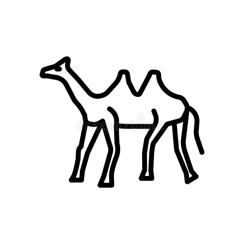 De vector van het dromedarispictogram op witte achtergrond, Dromedaristeken wordt geïsoleerd dat royalty-vrije illustratie