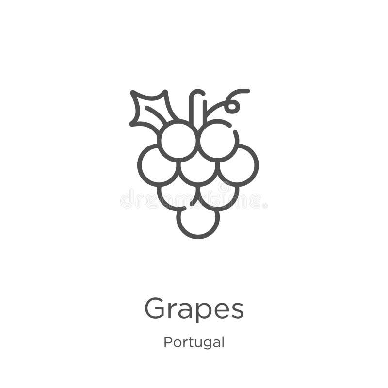 de vector van het druivenpictogram van de inzameling van Portugal De dunne van het het overzichtspictogram van lijndruiven vector stock illustratie
