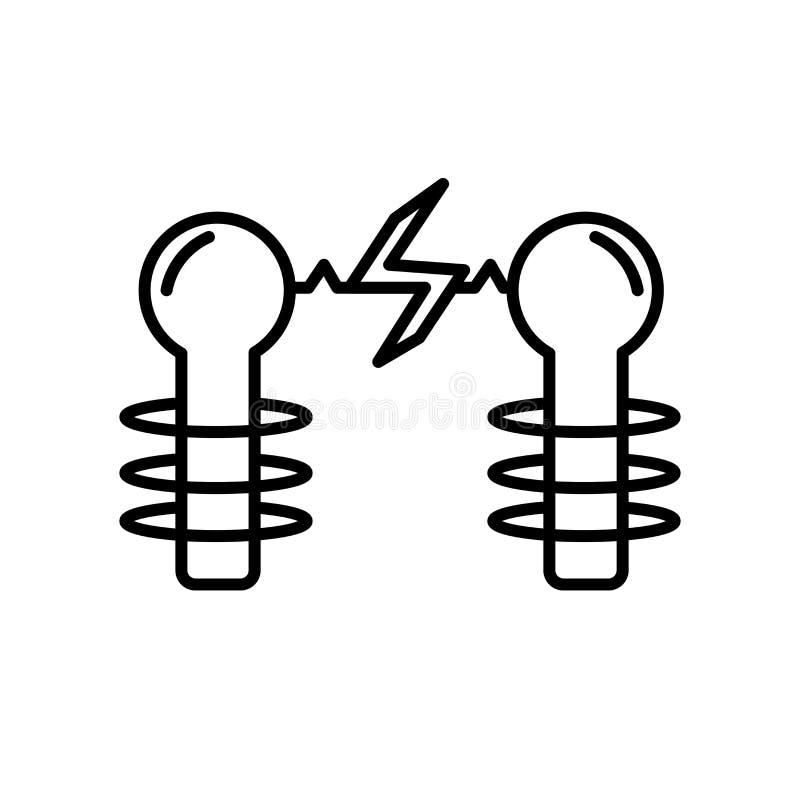 De vector van het elektriciteitspictogram op witte achtergrond, Elektriciteitsteken, teken en symbolen in dunne lineaire overzich stock illustratie