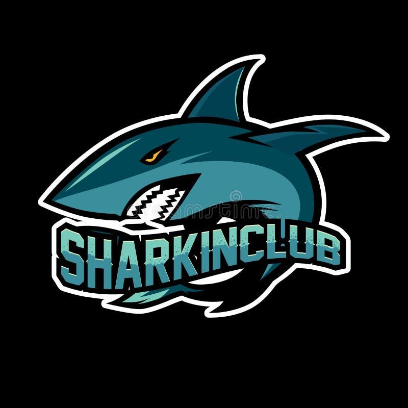 De vector van de het embleemillustratie van de haaimascotte stock illustratie