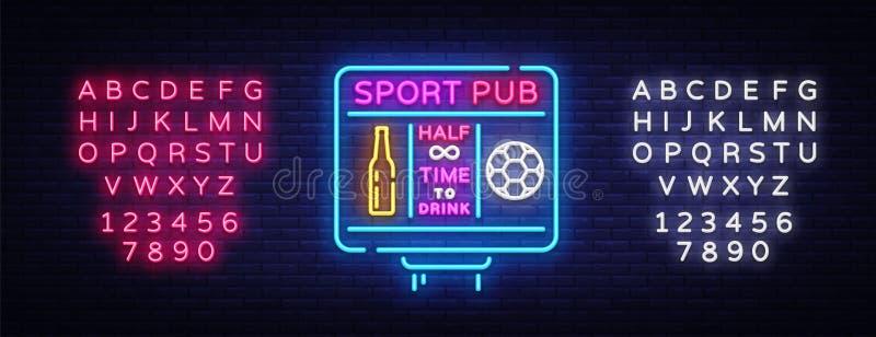 De vector van het het embleemneon van de sportenbar Het neonteken van de sportenbar, het concept van het Voetbalscorebord, nachtl royalty-vrije illustratie