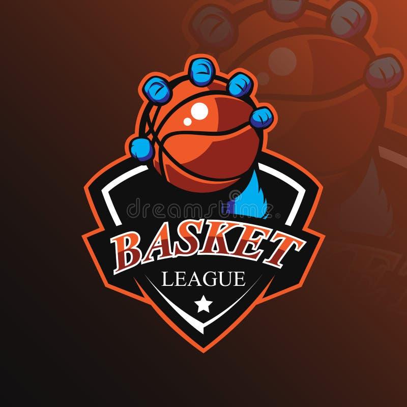 De vector van het het embleemontwerp van de basketbalmascotte met de moderne stijl van het illustratieconcept voor kenteken, embl stock illustratie