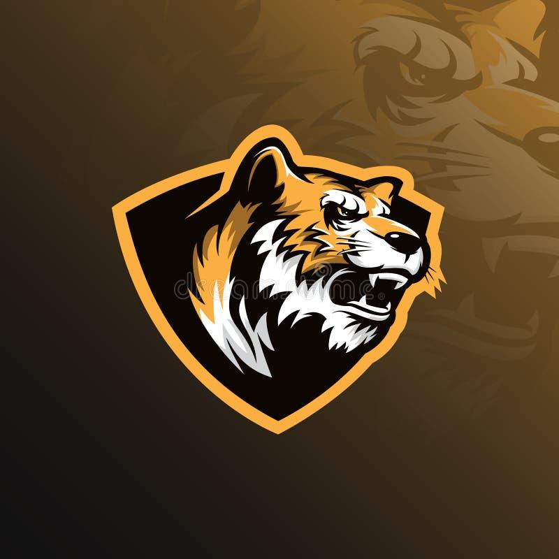 De vector van het het embleemontwerp van de tijgermascotte met modern illustratieconcept stock illustratie