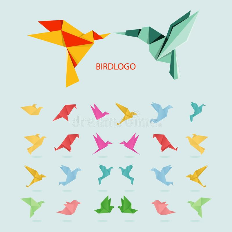 De vector van het het embleemontwerp van de vogelorigami op witte achtergrond wordt geïsoleerd die vector illustratie