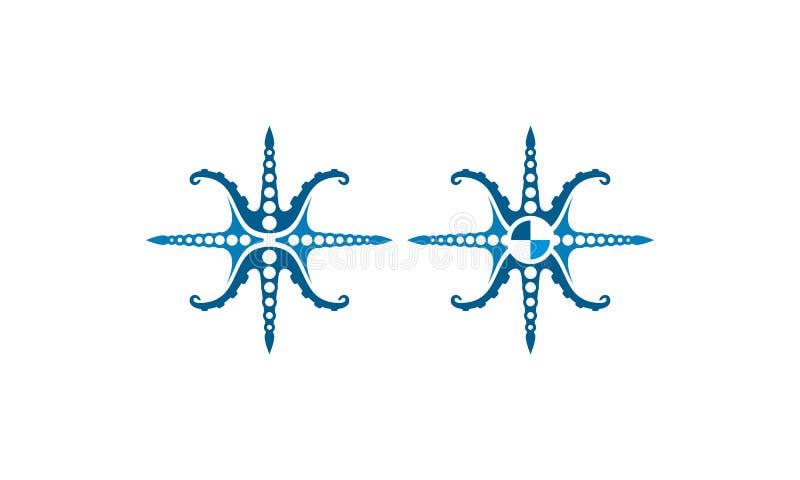 De vector van het het embleempictogram van het octopuskompas vector illustratie