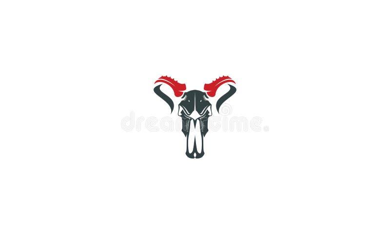 De vector van het het embleempictogram van de schedelstier stock illustratie