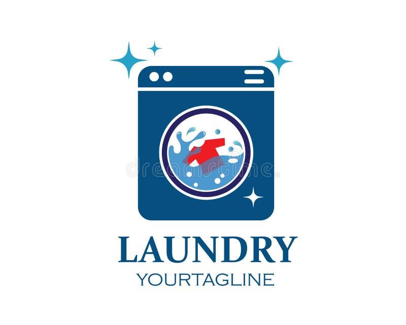 de vector van het het embleempictogram van waskleren van het ontwerp van de wasserijdienst royalty-vrije illustratie