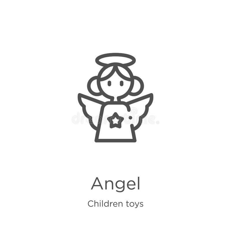 de vector van het engelenpictogram van de inzameling van het kinderenspeelgoed De dunne van het het overzichtspictogram van de li stock illustratie