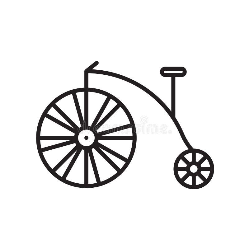 De vector van het fietspictogram op witte achtergrond, Fietsteken, de dunne elementen van het lijnontwerp in overzichtsstijl die  stock illustratie