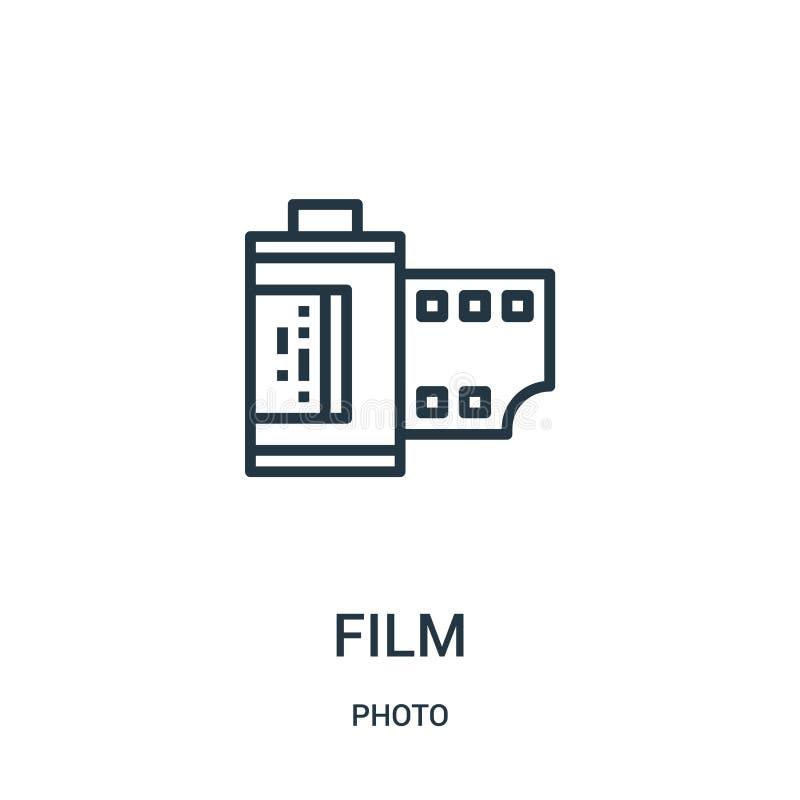de vector van het filmpictogram van fotoinzameling De dunne van het het overzichtspictogram van de lijnfilm vectorillustratie Lin stock illustratie