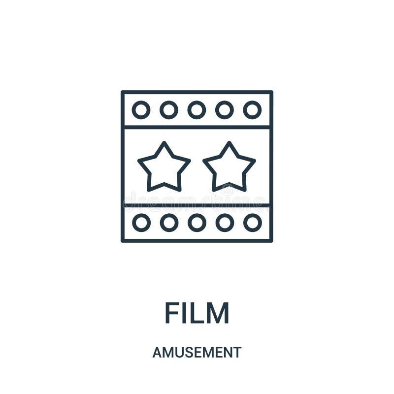 de vector van het filmpictogram van vermaakinzameling De dunne van het het overzichtspictogram van de lijnfilm vectorillustratie royalty-vrije illustratie