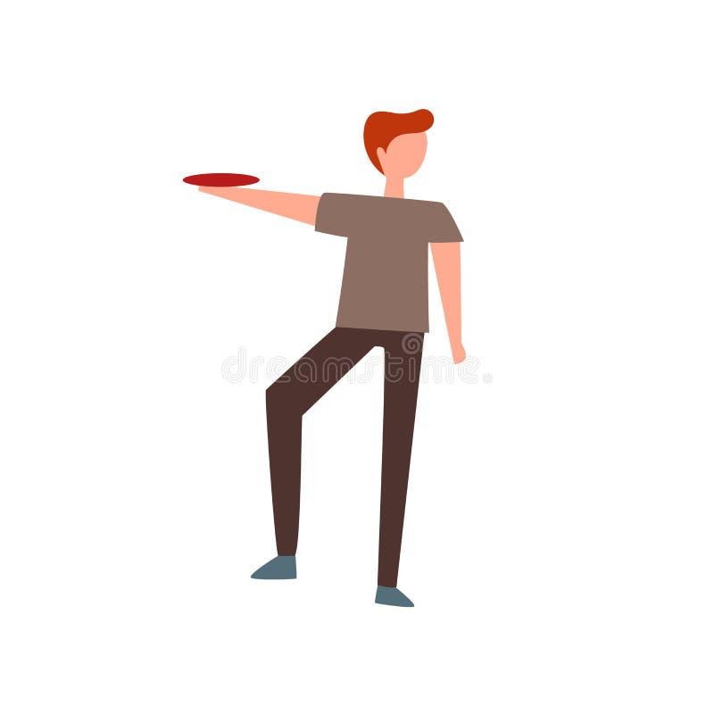 De vector van het Frisbeepictogram op witte achtergrond, Frisbee-teken, menselijke illustraties, menselijke illustraties wordt ge vector illustratie