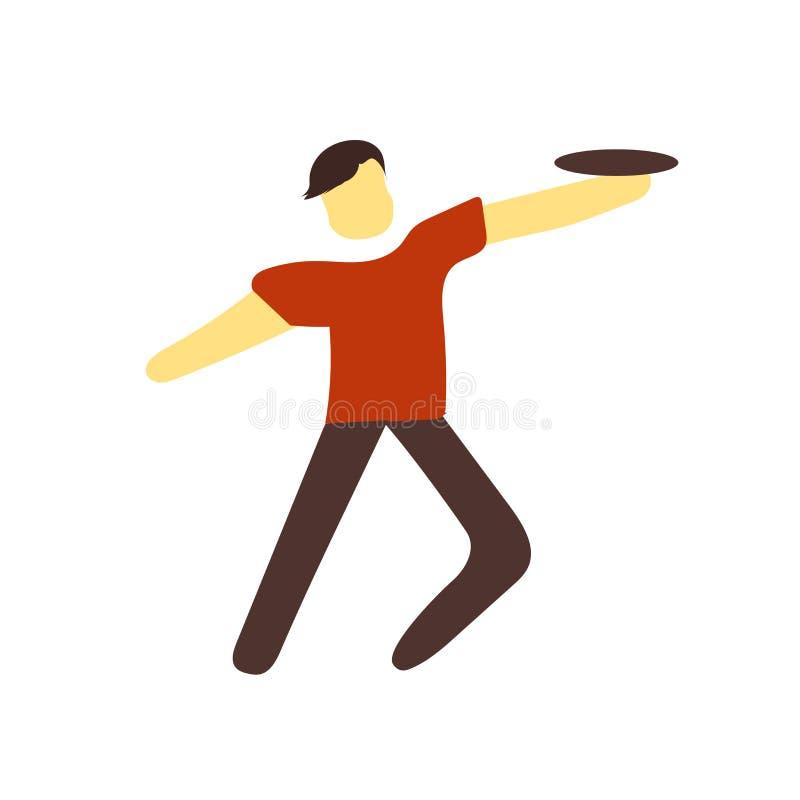 De vector van het Frisbeepictogram op witte achtergrond, Frisbee-teken wordt geïsoleerd dat royalty-vrije illustratie