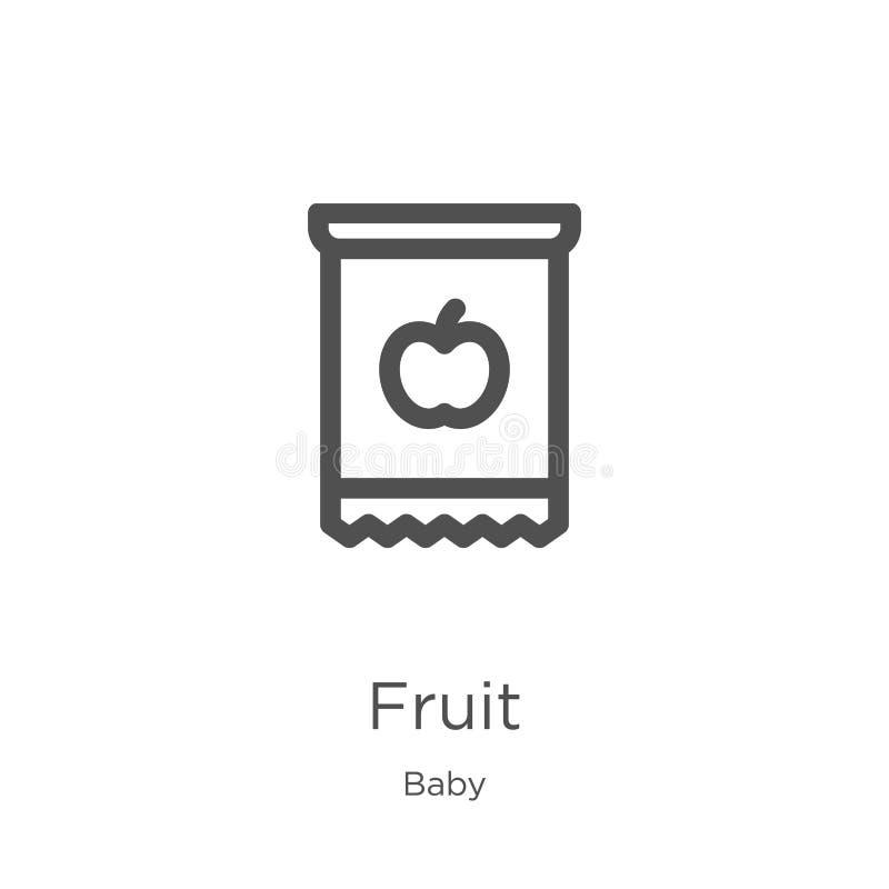 de vector van het fruitpictogram van babyinzameling De dunne van het het overzichtspictogram van het lijnfruit vectorillustratie  stock illustratie